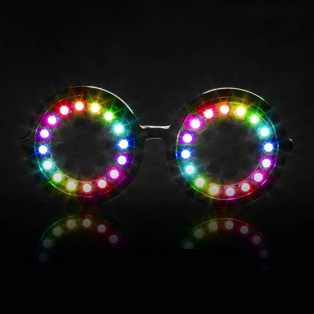 GloFX Pixel Pro LED Glasses [350+ Epic Modes] - Programmable Rechargeable Light Up EDM Festival Rave Party Sunglasses by GloFX (Image #1)