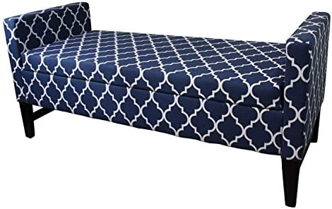 Ore International 23.5″ Diagonal Moroccan Stripes Denim Blue Storage Bench