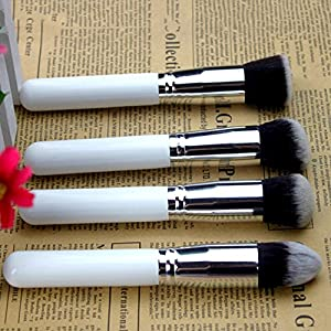 Brendacosmetic Professional Powder wood Foundation Brush for makeup,brush set with Blush Cosmetic for Stippling (White+silver)