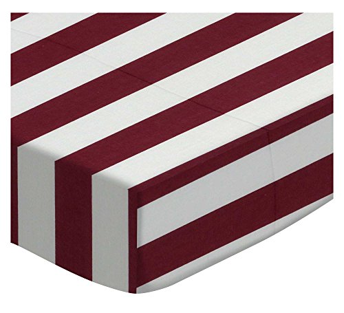 SheetWorld Fitted Portable Mini Crib Sheet - Burgundy Stripe - Made in USA by SHEETWORLD.COM