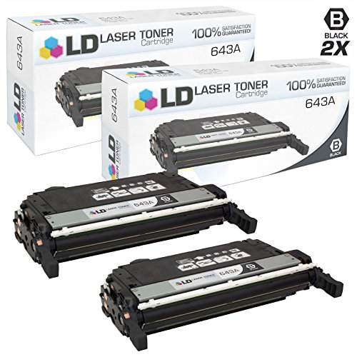 LD Remanufactured Replacements for HP 643A/Q5950A 2PK Black Toner Cartridges for Color LaserJet 4700, 4700dn, 4700dtn, 4700n, 4700ph+ -