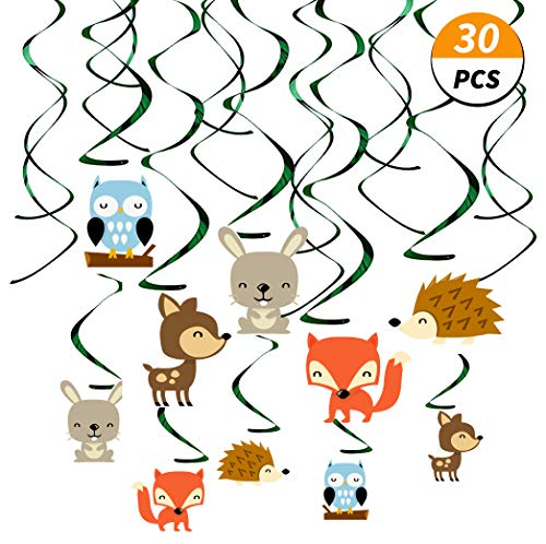 Kristin Paradise 30Ct Woodland Animals Hanging Swirl Decorations, Forest Friends Birthday Party Supplies for Boy/Girl/Kids, Baby Shower Woodland Creatures Theme Decor, 1st First Bday Favors ()