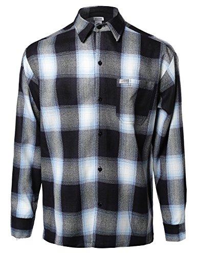 (Youstar Long Sleeve Casual Plaid Buttondown Shirt Navy Size 2XL)