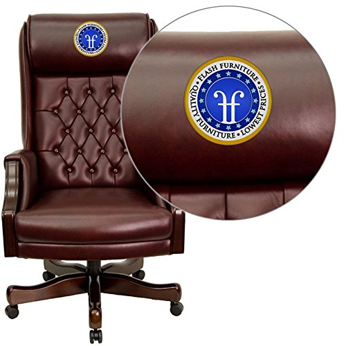 Embroidered High Back Traditional Tufted Leather Executive Swivel Office Chair Burgundy/Mahogany/32