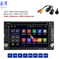 MCWAUTO Android 7.1 Quad Core 2 din Car DVD CD Player 6.2 inch Double Din Capacitive Multi-Touch Screen GPS Navigation Radio Stereo Support Bluetooth/SD/USB/FM/AM/Wifi/Mirror Link/Rear Camera