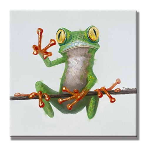 SEVEN WALL ARTS 100% Hand Painted Oil Painting Cute Animal Frog Painting for Living Room Kids Room Decor 24 x 24 Inch (24 x 24 Inch, Happy Frog) by SEVEN WALL ARTS