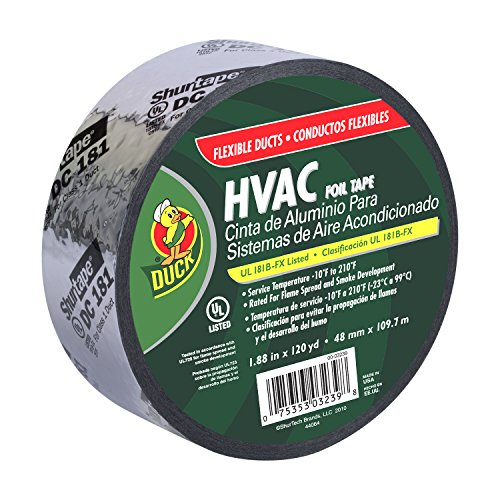 Duck Brand 673753 HVAC UL 181B-FX Listed Foil Tape for Flexible Ducts, 1.88-Inch by 120 Yards, Single Roll, Silver