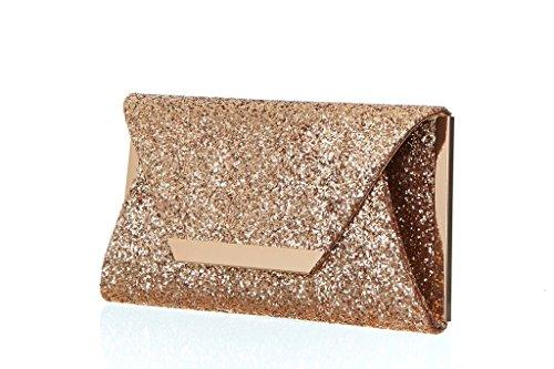Women��s Metallic Hardware Origami Handbag Clutch with Champagne Glitter Bar Fv1wqg