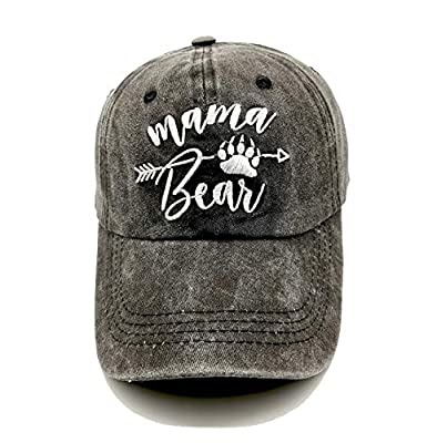 LOKIDVE Mama Bear Baseball Hat Embroidered Women's Washed Denim Mom Cap