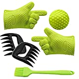 ATOZEDO Silicone BBQ Gloves, Heat Resistant Grilling Gloves Plus Bear Claws Meat Shredder Plus Silicone Pastry Brush for Smoking Cooking Barbecue Gloves Set(Green)