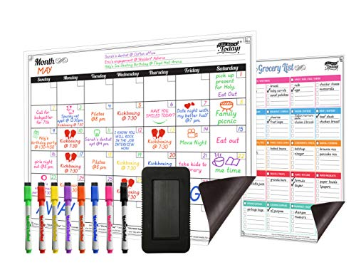Dry Erase Magnetic Monthly Calendar 17 x 13 and Grocery List  Strong Magnet Backing + 8 Free Fine Tip Magnetic Markers & Large Eraser  Whiteboard Planner Fridge Calendar for Home, Office & School
