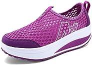 Padgene Womens Sneakers Mesh Slip On Wedges Platform Walking Shoes Lightweight Sports Tennis Shoes