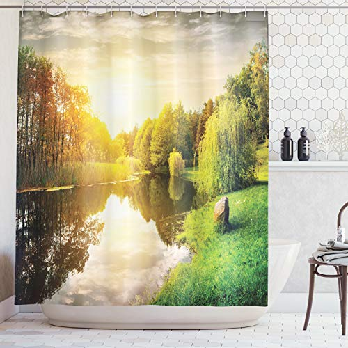 (Ambesonne Lake House Decor Collection, Sunset Over Calm River Grass Willow Trees Grass Rocks Reflection Light Clouds, Polyester Fabric Bathroom Shower Curtain Set with Hooks, Green Blue White)