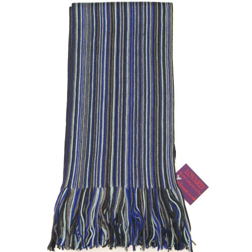 Navy, Blue and Grey Men's Scarf - Fine Quality Merino Wool Winter Striped Scarf