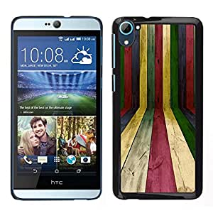 // PHONE CASE GIFT // Duro Estuche protector PC Cáscara Plástico Carcasa Funda Hard Protective Case for HTC Desire D826 / Lines Wood Texture Rainbow Pastel Colorful /