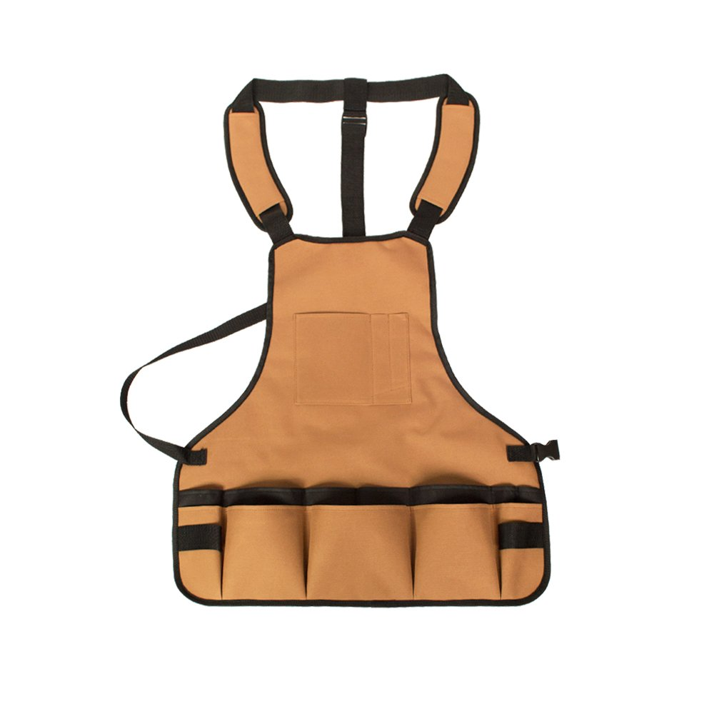 ANPI Garden Tool Apron,Professional Heavy Duty Water-resistant Work Bib Apron with 15 Tool Pockets and Adjustable Belt for Men & Women Khaki