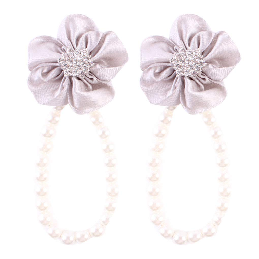 Arichtops Baby Girls Artificial Pearl Infants Foot Flower Shoes Barefoot Sandals Foot Band Toe Rings Grey