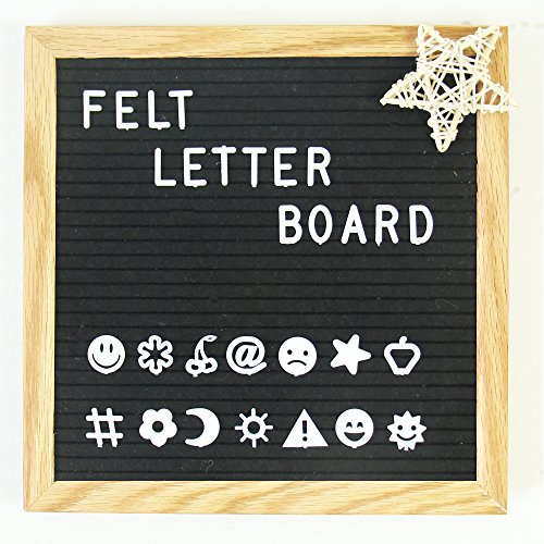 Letter Board – Black 10x10 Inches Felt Letter Board with 290 Changeable White Letters + 45 Fun Emoji and Signs, Oak Wood Frame, Canvas Bag, Wooden Easel Stand, Strong Wall Mount, By Lucky Number (Black White Letters)
