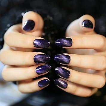 YUNAI Art Nail Purplish Cat Eye Effect Texture Fake Nails Gel Polish Manicure Tips 24pcs