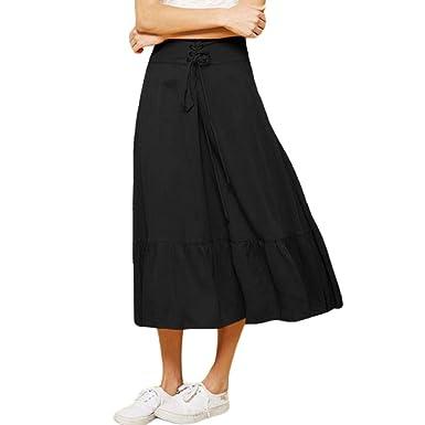 VITryst Mini Falda de Talle Alto para Mujer Negro Negro (36 ...