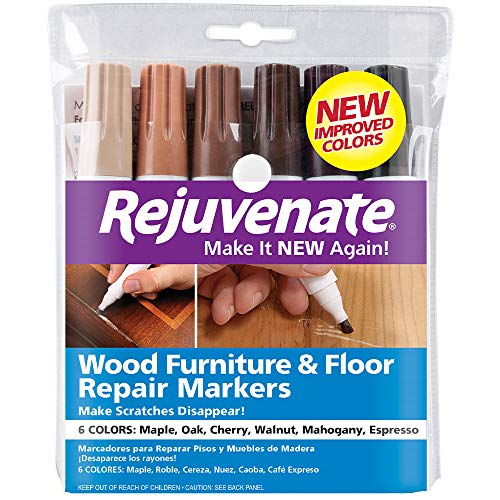 (Rejuvenate New Improved Colors Wood Furniture & Floor Repair Markers Make Scratches Disappear in Any Color Wood Combination of 6 Colors Maple Oak Cherry Walnut Mahogany and Espresso)