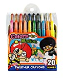20 Colors-in-Motion MINI Twist-up Crayons, Colored Pencils, Kids Crayon, Adult Coloring, Professional Drawing (4.5 in length)