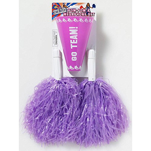 Cheerleader Purple Pom-Poms & Megaphone