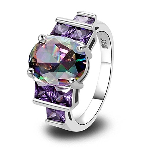 (Veunora 925 Sterling Silver Created Rainbow Topaz Filled Promise Ring Band for Women Size 8)