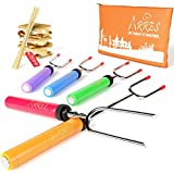 Marshmallow Roasting Sticks kit-Telescoping Stainless Steel Cookware Set Forks for Smores & Best Camping Accessories for Kids Over Campfire & Hot Dog Fire Pit Cooking - Bonus Bag & 10 Bamboo skewers