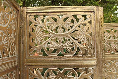 Cotton Craft Rajasthan- Antique Gold 4 Panel Handcrafted Wood Room Divider Screen 72x80, Intricately Carved on Both Sides - Reversible- Hides Clutter, Adds Décor, Divides The Room (Antique Gold)