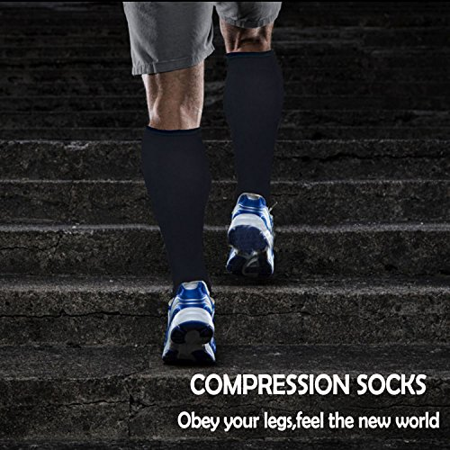 Copper Compression Socks For Men & Women(3 Pairs)-Boost Performance, Speed Up Recovery, Better Blood Circulation - For All Sports, Flight, Air Travel, Nurse, Medical Use (S/M, Multicoloured 3) by Iseasoo (Image #1)