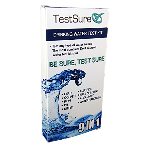 Test Sure 9 in 1 Drinking Water Test Kit (9 strips) - Water Quality Test for Lead, Flouride, Copper, pH, Iron, Free Chlorine, Total Hardness, Nitrite, & Total Alkalinity