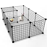 KOUSI Small Pets Playpen Metal Indoor Yard Fence for Small Animals Popup Kennel Crate, Portable & Large, Dog Guinea Pigs Rabbit Puppy Tent - Black 12 Wire Panels