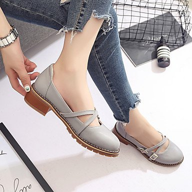 Zapatos ggx Tacón Formales 2'5 4'5 Pu Casual Gris Otoño Tacones Paseo Cms Confort Beige Lvyuan Mujer Bajo qtwSg1g