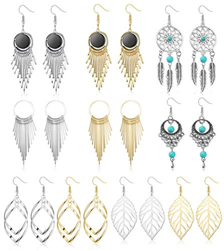 (YADOCA 10 Pairs Drop Dangle Earrings for Women Girls Bohemia Statement Fringed Tassel Exaggerated Earrings Set Fashion Jewelry for Women)
