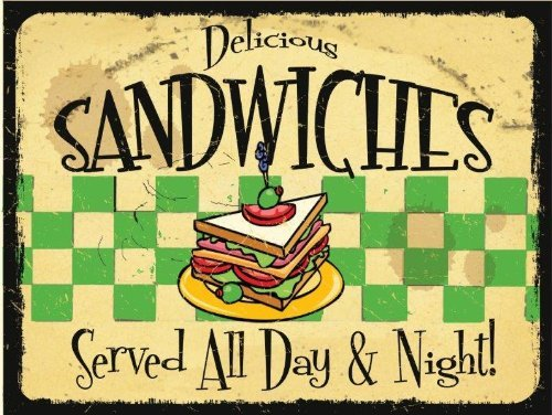 Delicious Sandwich Served All Day Metal Sign, Retro Cafe, Restaurant, Kitchen Decor by Yerkes
