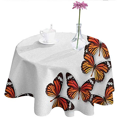 Maroon Monarch Tablecloths - DouglasHill Butterflies Leakproof Polyester Tablecloth Monarch Butterfly Figures Flying Frame Insect Exotic Weather Outdoor and Indoor use D67 Inch Dark Brown Marigold Orange