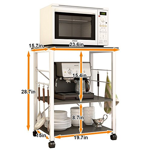 soges 2-Tier Microwave Cart Utility Cart with Wheel Microwave Stand Kitchen Baker's Rack Utility, W4-BK