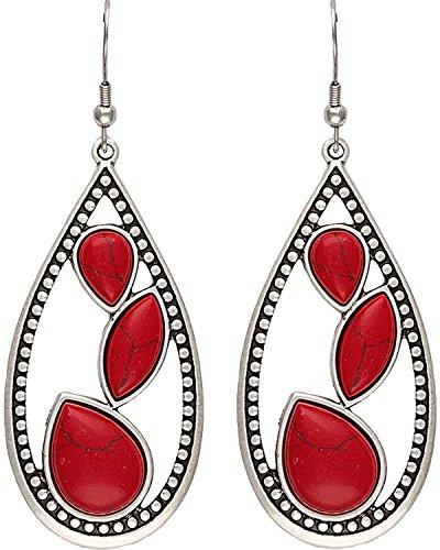 Wrangler Women's Rock 47 Campfire Coals Sparks Teardrop Earrings Silver One Size