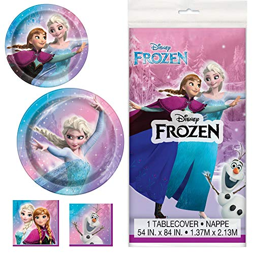 (Unique Frozen Movie Dinnerware Bundle Officially Licensed by Unique   Plates, Napkins, Tablecover   Great for Kids Birthday Party, Fairytale Princess, Animated Theme)