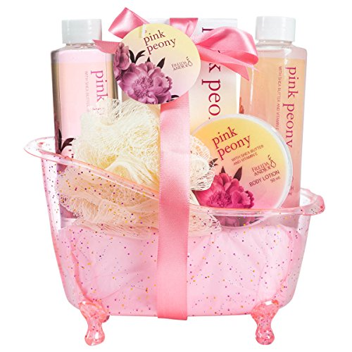 Luxurious & Elegant Bath Gift Set For Women By Freida Joe – Deluxe Pink Peony Tub Spa Gift Basket, Hydrating & Refreshing Bathroom Gel, Bubble Bath, Lotion & Salts – Luxury Gift Idea