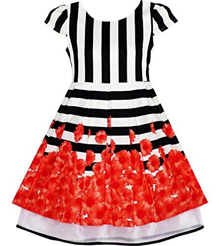 JF91 Girls Dress Black White Striped Red Flower Organza Hem Party Size (Black And White Striped Flower Girl Dress)
