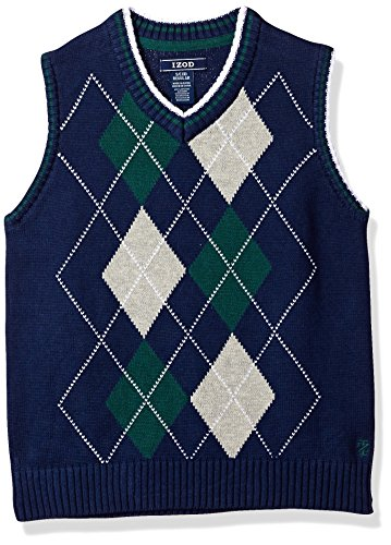 Izod Argyle Sweater - IZOD Big Boys' Double Argyle Sweater Vest, Dark Blue, Small