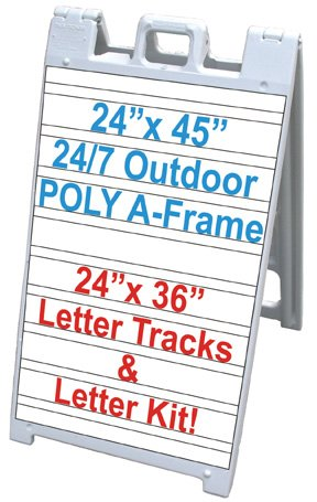 NEOPlex 25'' x 45'' Plasticade/Signicade Sidewalk Sandwich Board A-frame Sign w/Letter Tracks and Full Letter Kit