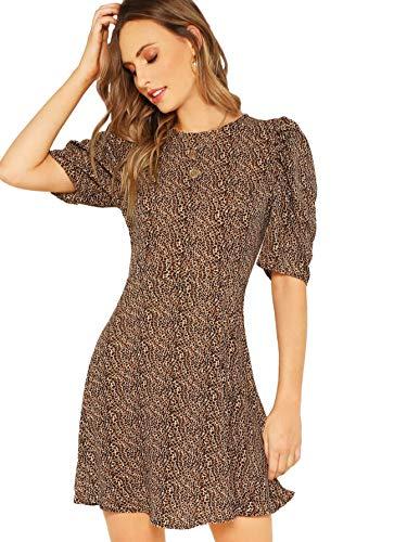 Verdusa Women's Puff Sleeve Leopard Print Swing Dress Multicolor M