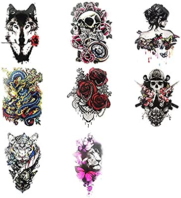Everjoy Garish Large Sleeve Temporary Tattoos 8 Sheets Colorful Gangster Cool Body Art Tattoo Stickers For Adults Women Men Boys And Girls Amazon Sg Beauty