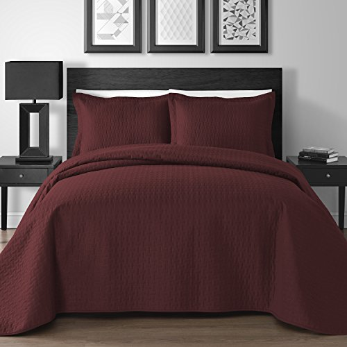 Extra Lightweight 3 Piece King & Queen Home Thermosonic Embossed Frame Coverlet Bedspread Set