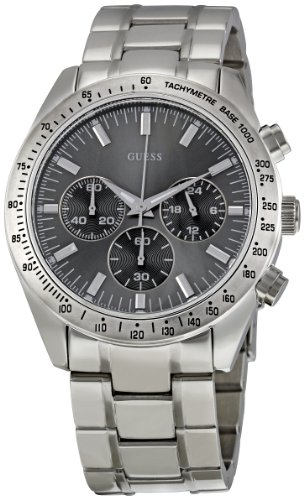 guess gents watch w13001g1 grey multifunction dial bezel guess gents watch w13001g1 grey multifunction dial bezel steel bracelet and silver coloured steel case guess amazon co uk watches