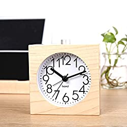 BELKA Clear Face Alarm Clock Mid-Century Wood Desk Decor Vintage Silent Square Maple Wood Alarm Clock Multifunction Clock with Nightlight Snooze Feature(Battery not included)