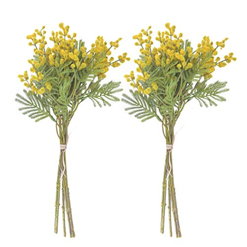 Anna Homey Decor 2 PCS Yellow Fake Flowers Real Touch Acacia Beans Bouquet with Artificial Palm Leaves Plants Faux Tropical Leaf Spring Flowers Artificial for Hotel Wedding Party Garden Floral Decor ()